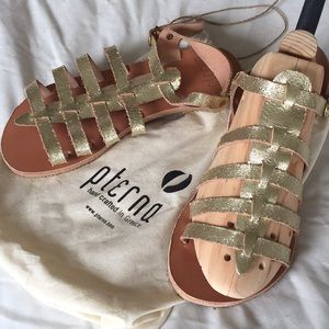 Shoes - Gold distressed sandals handmade in Greece